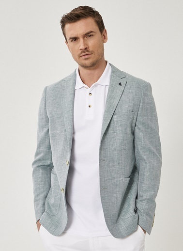 Beymen Business Slim Fit Desenli Ceket 4B0420200012 Yeşil